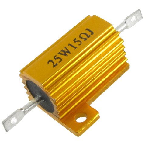 Uxcell a12040600ux0256 Gold Tone 25W Power 15 Ohm 5% Aluminum Casing Wire Wound Resistor