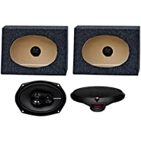 2) Rockford Fosgate R169X3 6x9 130W Car Speakers + 2) Angled 6x9 Speaker Box