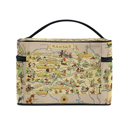 Vintage 1935 Kansas State Map Portable Travel Makeup Cosmetic Bags Toiletry Organizer Multifunction Case