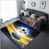 Vanfan Design Home Decorative 162727637 Abstract sports background - soccer ball Brazil flag bright light stars in night sky Modern Non-Slip Doormats Carpet for Living Dining Room Bedroom Hallway Offi