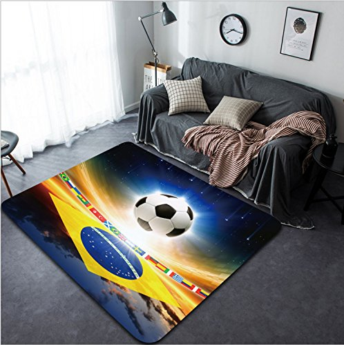 Vanfan Design Home Decorative 162727637 Abstract sports background - soccer ball Brazil flag bright light stars in night sky Modern Non-Slip Doormats Carpet for Living Dining Room Bedroom Hallway Offi by vanfan