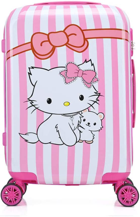 SONGXZ Maleta para niños con Dibujos Animados, 18 Pulgadas, 19 Pulgadas, 20 Pulgadas, Maleta para niños Gato Blanco Vertical 45,72 cm