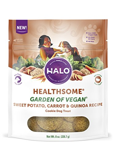 Halo Vegan Grain Free Natural Crunchy Dog Treats, Garden Of Vegan Sweet Potato, Carrot, Quinoa Recipe, 8-Ounce Bag ()