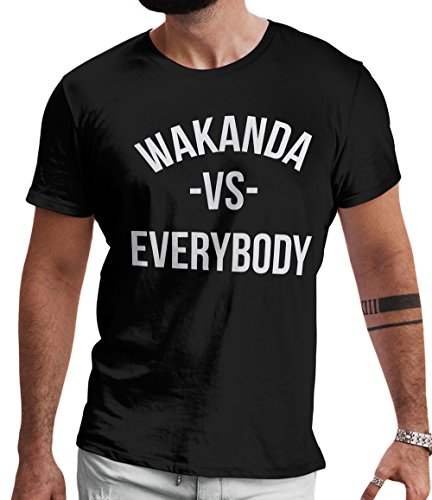 LeRage Shirts Wakanda Vs Everybody Fan Made Black Panther Shirt Tee by Men's Black X-Large