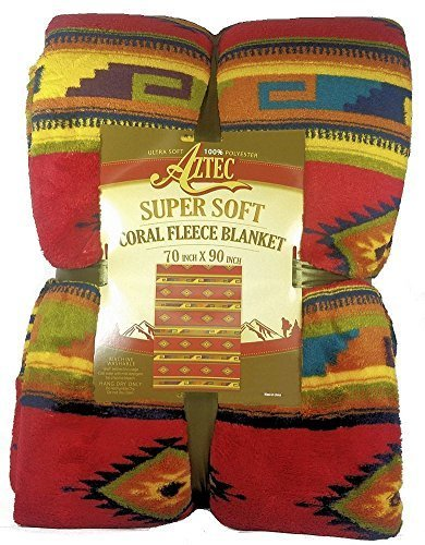 (Aztec Southwestern Soft Coral Fleece Throw Blanket 70 x 90)