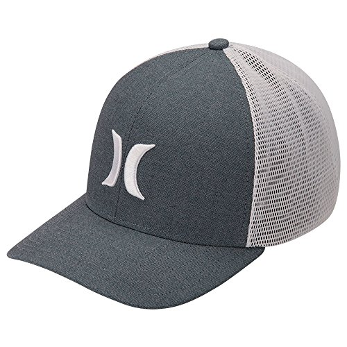 Hurley Men's Apparel Men's Black Textures Curved Bill Flexfit Cap, Ocean Bliss//White, - Snapback Flexfit