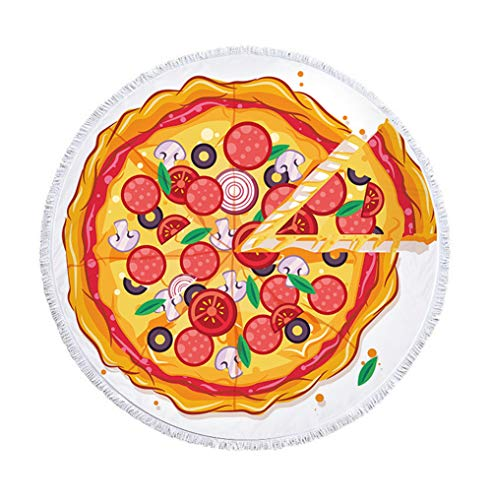 Creativa Divertido Pizza redondas Toalla con borlas deliciosa Pizza redondas playa manta Franse playa lanzamiento böhmisch Mandala comer playa roundie ...