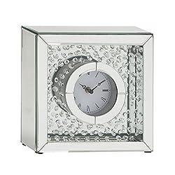 Woodland Imports Classy Wood Mirror Table Clock, 10 W x 10 H