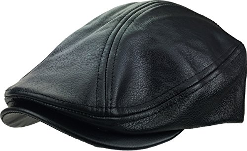 - KBETHOS LEATHER-ASCOT BLK L/XL Genuine Leather Ascot Ivy Made In USA Hat
