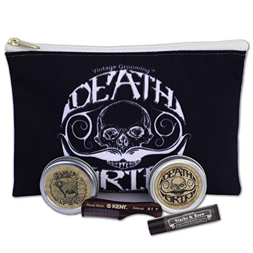 Moustache Care Gift Set by Vintage Grooming Co. (Black – Death Grip Logo)