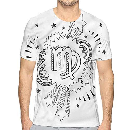 t Shirt Printer Zodiac Virgo,Doodle Pop Art Junior t Shirt XL