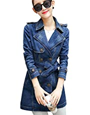 Tanming Women's Belted Double Breasted Long Denim Jean Jacket Trench Coat
