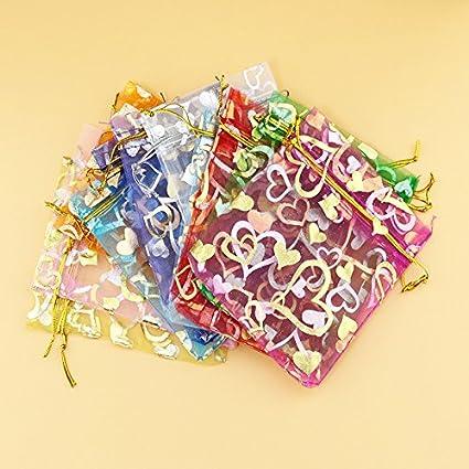 Kumkey 100x Sachets en Organza Pochettes Sachet Bijoux Sac Cadeau Organza Cordon de Serrage Sacs Chocolat Bonbons des Petits Bijoux Sac pour Candy Bar Mariage Anniversaire Bapt/ême No/ël Partie Rose