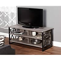 Jaxx Collection TV Stand for TVs up to 48, Black,Gray Finish With 4 Open Shelves Hold Audio And Video Equipment