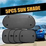 ZHCHL Home Useful 5PC/Set Black Side Car Sun Shades Rear Window Sunshades Cover Mesh Visor Shield Screen Interior UV Protection Kids Baby Travel (Color Black) Good Quality