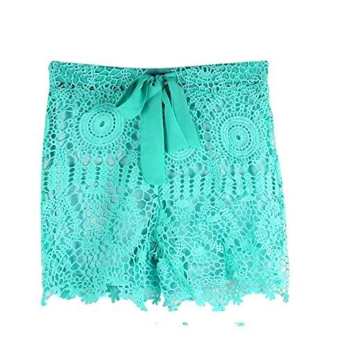 Pantaloncini vita Pantalone pizzo Donna Amlaiworld in Elastico all'uncinetto donna estivi shorts Mini verde caldo ❤️shorts E0qHqwP