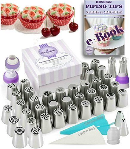 Russian Piping Tips Set 82 pcs - 40 Icing Frosting Nozzles (2 Ball & 2 Leaf Tips) + 4 Couplers + 36 Baking Pastry Bags + Silicone Bag + Cotton (Tulip Tip)