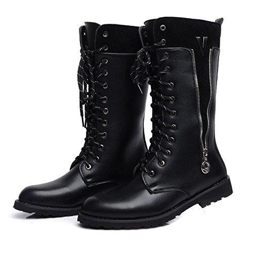 Best Choise Herren Schuhe Seitlicher Reißverschluss Lace Up Leder Oberen Mitte Kalb Kampf Martin Stiefel für Herren Draussen ( Color : Black , Size : 42 EU ) Black