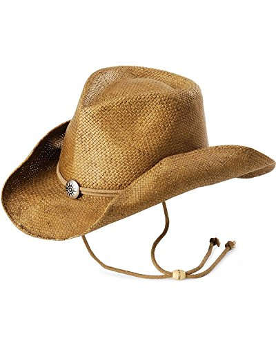 Scala Women's Shapeable Toyo Western Hat, Tobacco, Small/Medium