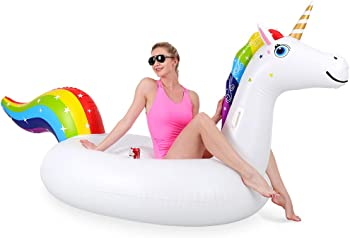 OlarHike Rainbow Unicorn Giant Inflatable Blow Up Pool Float