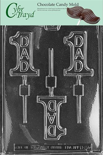 One Mold - Cybrtrayd Life of the Party D064 Number 1 Dad Lolly Fathers Day Chocolate Candy Mold in Sealed Protective Poly Bag Imprinted with Copyrighted Cybrtrayd Molding Instructions
