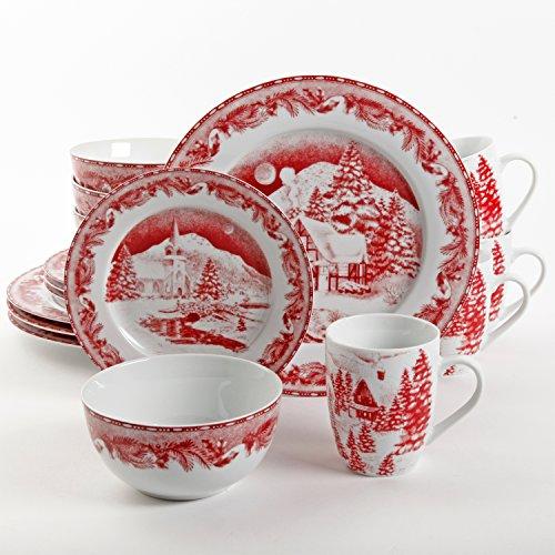 Gibson Elite Winter Cottage 16 Piece Dinnerware Set, Red (Plates Kids Melamine Christmas For)