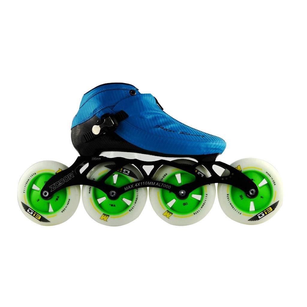 ailj スピードスケート靴90MM-110MM調整可能なインラインスケート、ストレートスケート靴(3色) (色 : 青, サイズ さいず : EU 38/US 6/UK 5/JP 24cm) 青 EU 38/US 6/UK 5/JP 24cm