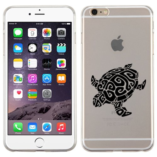 iPhone 6/6s (4.7) Tribal Turtle Black Case-Glossy Transparent Clear Candy Skin Cover-Protective Case Soft Flexible TPU Transparent Skin Scratch-proof Case (Turtle Black)