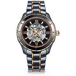 Time100 Fashion Round Case Ceramic Strap Diamond Mechanical Skeleton Men Watch #W50376G.01A