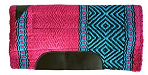 Equitem 24 X 24 Wool Pony Saddle Pad with Fleece Bottom with Pink Accent