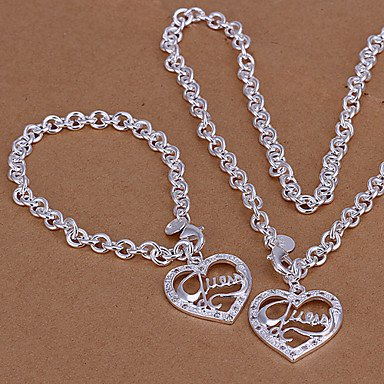 Silver Plated Chunky Chain Necklace & Bracelet Jewelry Set