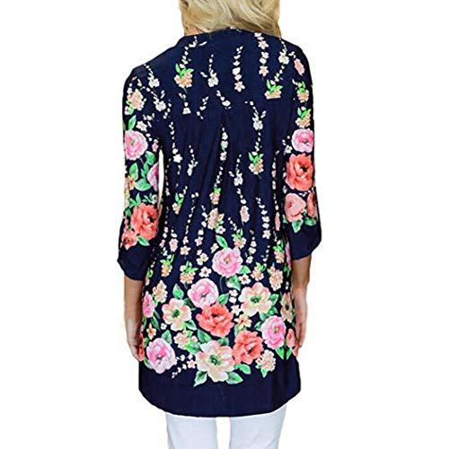 V Ärmel Fashion Hemd Florale Split Tops Longtop Blusen Damen Bedruckte MOIKA Women Marine Neck Casual qvUXPEw