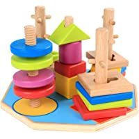 TOYANDONA Geometric Stacker Wooden Sorting Stacking Toys Shape Sorter Toys Early Educational Block Puzzles for Toddlers…