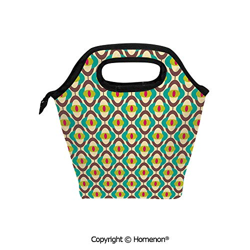 Insulated Neoprene Soft Lunch Bag Tote Handbag lunchbox,3d prited with Groovy Bauhaus Art Motifs Funky Geometric Minimalist Retro Unusual Tile,For School work Office Kids Lunch Box & Food -