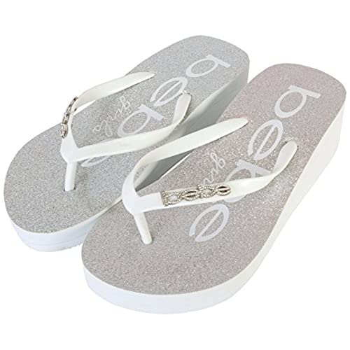4daa0b8444b bebe Girls 2 Pack Glitter Wedge Flip Flop Thong Sandals (Little Kid Big Kid