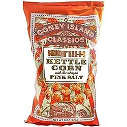 Coney Island Classics Himalayan Pink Salt Smokin BBQ Kettle Corn Gluten Free Non GMO Vegan Popcorn 8 Oz Large Bag (12 Count)