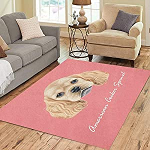Pinbeam Area Rug Portrait of American Cocker Spaniel Puppy Cute Fluffy Home Decor Floor Rug 3' x 5' Carpet 1