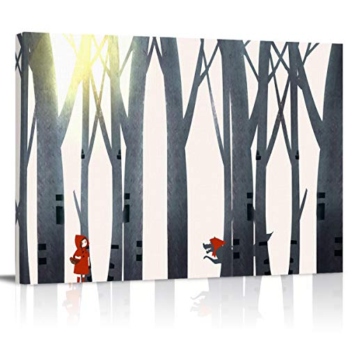 Canvas Prints Oil Paintings Home Decor Little Red Riding Hood and Timber Wolf in The Forest Wall Art Pictures Poster Artwork for Living Room, Bedroom, Office, Hall
