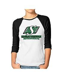 Women's Saskatchewan Roughriders Canadian Football Logo 3/4 Sleeve Baseball Shirt Black (2 Colors)