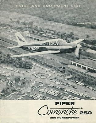 Piper Comanche 250 Sales Brochure: Price & Equipment List [1961]