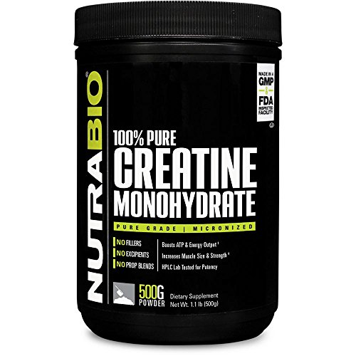 NutraBio 100% Pure Creatine Monohydrate (500 Grams) - Micronized, Unflavored, HPLC Tested