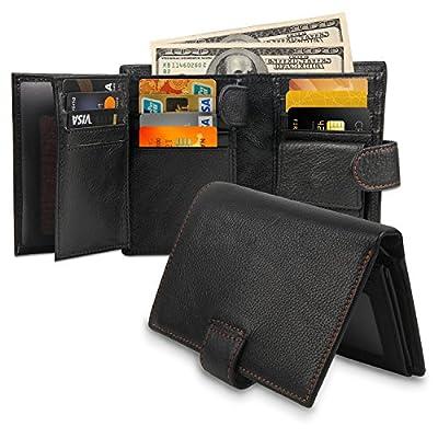 8129A-1 Wallets for Men RFID Blocking Men Genuine Leather Blocking Stylish Vegetable Minimalist Wallets Genuine Leather RFID Blocking Bifold Stylish Wallet With 2 ID Window