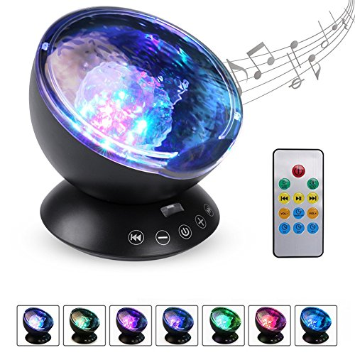 Bead Gfci Plate (Kingcenton [Newest 3rd Gen] Remote Control Ocean Wave Projector 12 LEDs & Multicolor Changing Modes Night Light Lamp, Built-in Mini Music Player for Baby Kids Adults Living Room, Bedroom or Nursery)