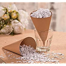 Confetti Cones for Weddings, Candy Buffet, Brown Kraft Paper Cones (50 Count)