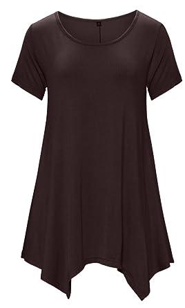 DB MOON Womens Tunic Tops Short Sleeve T Shirts Dress (S-XXXL) at ...