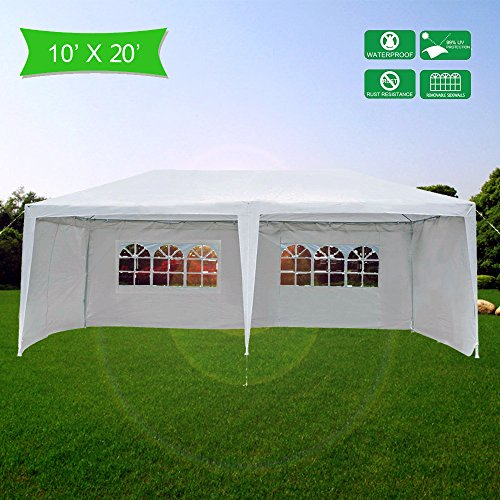 Mefeir 10'x20' Outdoor Canopy party wedding Tent with 6 Removable Sidewalls,Upgraded Thick Tube, Waterproof Sun Shelter Anti UV Protection for carport Gazebo outdoor Beach Backyard (10' X 20' Shelter)