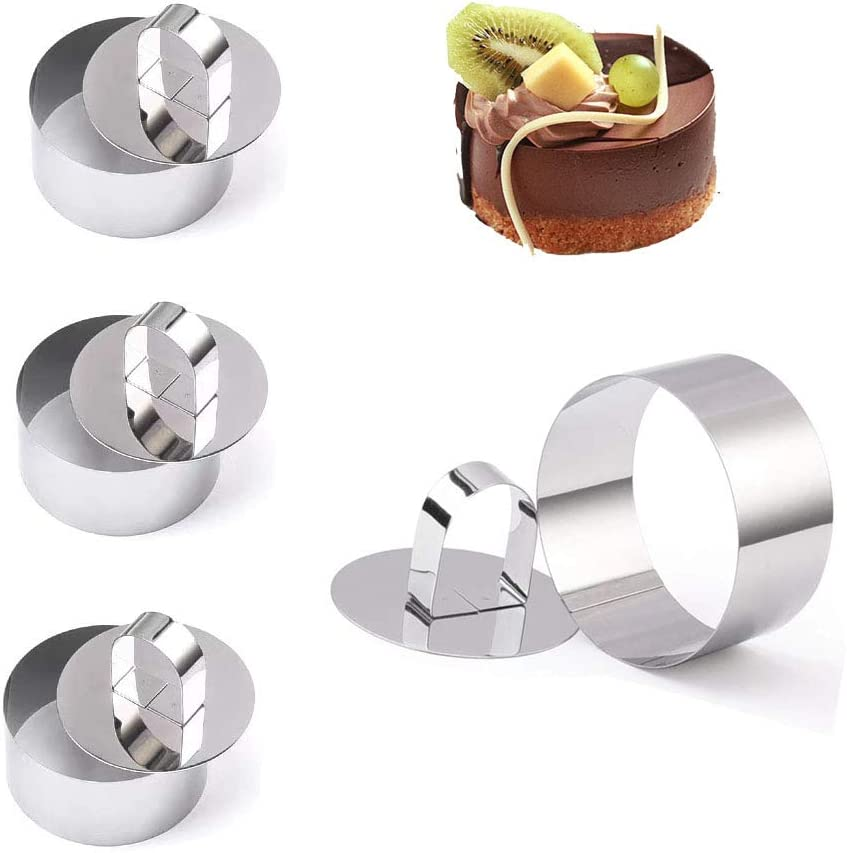 4-Pack Round Cake Ring Cake Molds, Stainless Steel Mini Baking Ring Mold with Pusher, Mousse and Pastry Rings, Small Food Rings Cake Rings Dessert Rings Tart Rings (3.15