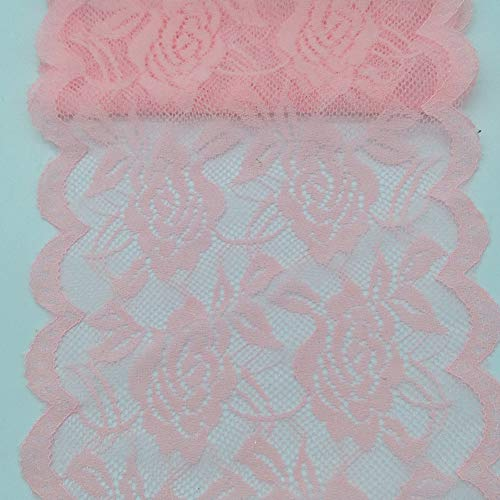 10Yards Lace Fabric 14CM/5.5 inches Wide Trim Lace Ribbon (Pink)