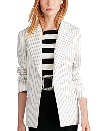 Polo Ralph Lauren Striped Double-Breasted Blazer (Cream Black, 4) (Blazer Cream Silk)