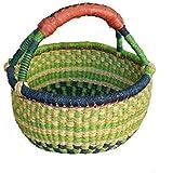 Bolga Baskets International Small Market Basket w/ Leather Wrapped Handle (Colors Vary)